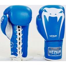 Боксерские перчатки на шнуровке кожа Venum Giant VL-5786-B