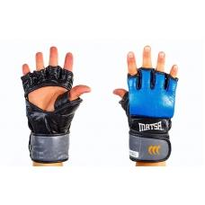 Перчатки для смешанных единоборств MMA Кожа MATSA Blue с защитой большого пальца, 7oz