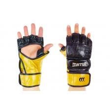 Перчатки для смешанных единоборств MMA Кожа MATSA Black с защитой большого пальца 7oz