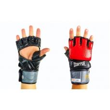 Перчатки для смешанных единоборств MMA Кожа MATSA Red с защитой большого пальца, 7oz