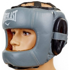 Боксерский шлем с бампером Everlast Gray (кожа)
