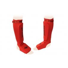 Защита ног для тайского бокса с фиксатором Everlast Red (голень+стопа)