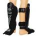Защита голени и стопы Муай Тай, кожа,VELO ULI-7023-BK